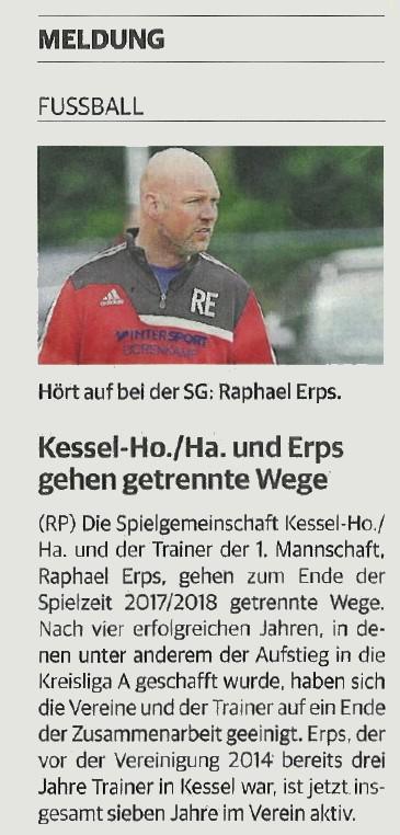 Kessel-Ho./Ha. und Erps gehen getrennte Wege (RP 28.12.2017)
